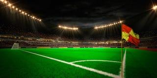 Night stadium arena football field. 3d render unfocus background royalty free illustration