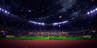 Night stadium arena soccer field championship win. blue toning royalty free stock images