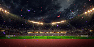 Night stadium arena soccer field championship win Stock Photography