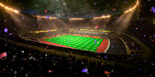 Night stadium arena soccer field championship win. Confetti and tinsel Royalty Free Stock Photos