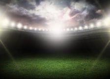 Night. Stadium field bright grass soccer shine Stock Photo