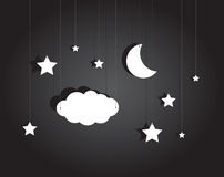 Night stage with hanging sky of stars, cloud and moon Royalty Free Stock Photography