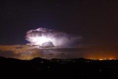 Night star landscape with lightning Stock Photos