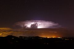 Night star landscape with lightning Stock Images