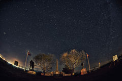 Night  Star trail Panaroma in Kars Sarıkamı� martyrdom Stock Photos