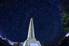 Night  Star trail Panaroma in Kars Sarıkamış martyrdom Royalty Free Stock Photo