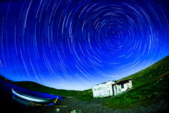Night  Star trail Panaroma in Lake Royalty Free Stock Photo