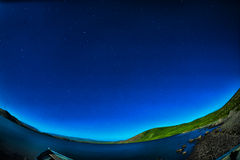 Night  Star trail Panaroma in Lake Stock Images