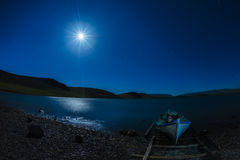 Night  Star trail Panaroma in Lake Stock Photography