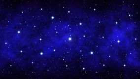 Night starry sky, dark blue space background with bright big stars nebula