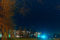 Night the starry sky on houses Royalty Free Stock Images