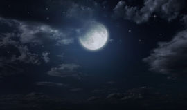 Night starry sky and moon. Night cloudy sky. Halloween background Stock Photography