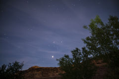 Night Starry Sky near Porcupine ridge Trail Moab Utah Royalty Free Stock Image