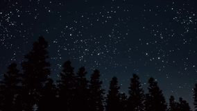Night Starry Sky Scene 3d Realistic Footage Stock Photo