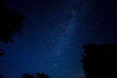 Night starry sky scene. With milky way royalty free stock photography