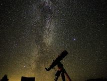 Night stars and nebulas observing over telescope stock photography