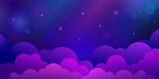 Night stars sky with clouds Royalty Free Stock Images