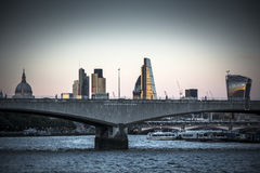 Night starts to fall over Waterloo Bridge London royalty free stock photo