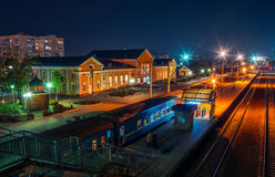 Night station. Night railway station in Ukraine Stock Photos