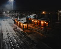 Night station in Russia royalty free stock images