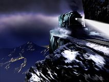 Night Steam Train over the Abyss. Steam train going by night by an amazing, frightening and dangerous snow-covered railroad over the cliffs, at the foreground of stock illustration