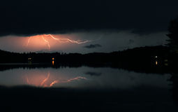 Night Storm. Heat storm on the lake Royalty Free Stock Photography