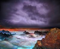 Night Storm. Disaster time over Atlantic ocean generated Stock Photo