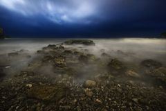 Night storm of Budva Stock Photography