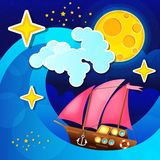 Night storm waves and wind a sailing ship on the sea. Vector illustration royalty free illustration