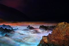 Night stormy water. Night STORM in Atlantic ocean, La Palma, Canary Royalty Free Stock Photography