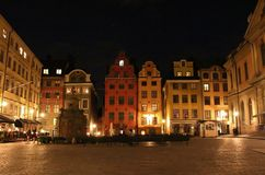 Night at Stortorget in Stockholm. Evening in Old Town in Stockholm. Stortorget is Stockholm's oldest square Royalty Free Stock Image