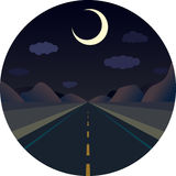 Night straight road forward in the mountains Stock Images