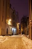 Night street. Night view of street in old Riga Stock Photography