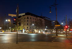 Night street. And lanterns in Berlin royalty free stock photo