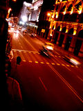 Night street. A busy street in Barcelona at night Stock Photos