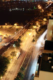 Night street. Night scene of Durban city street, South Africa from a very tall building Stock Images