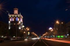 Night street. Lenina street. Zaporozhye. Ukraine. A night view Stock Image