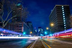 Night Street And Tracks From Car Headlights Stock Photography