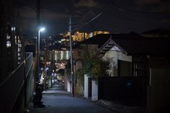 Night Street around mid-time of Yokohama, Japan. At night time, people really do not go outside. In summer time, international royalty free stock images