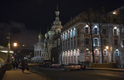 Night Street At Winter St. Petersburg Stock Images