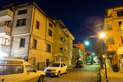 On a night street in the Bulgarian Pomorie stock image
