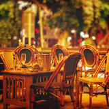 Night street cafe Stock Photos