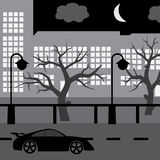 Night street with car, tree and buildings eps10. Black night street with car, tree and buildings eps10 Stock Illustration