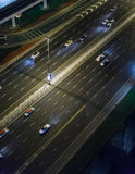 Night Street with Cars in Sheikh Zayed Road, Dubai Stock Images