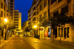 Night street of  Castellon.Spain Stock Images