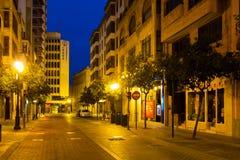 Night street of  Castellon.Spain Stock Images