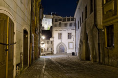 Night street in Cesky Krumlov, Czech Republic Royalty Free Stock Images