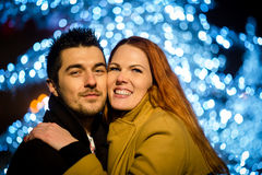 Night street couple portrait Royalty Free Stock Image