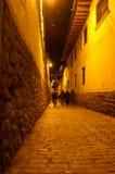Night street in Cusco, Peru. Night, romantic scene - street with lights Royalty Free Stock Image