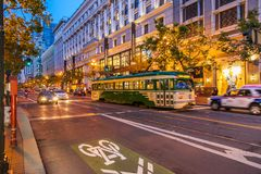 Night street downtown and famous Cable Car in san francisco. SAN FRANCISCO ,CALIFORNIA,USA - MAY 1, 2015 : Night street downtown and famous Cable Car near Union stock image